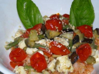 夏野菜とお豆腐のせヘルシーピラフ