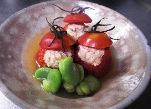冷製肉詰め湘南ポモロントマトの含め煮
